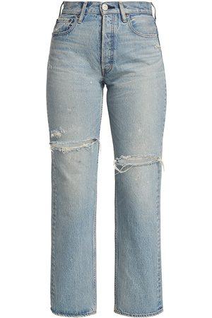 Moussy Women Wide Leg - Women's Teaneck Distressed Wide Straight-Leg Jeans - Light - Size 0