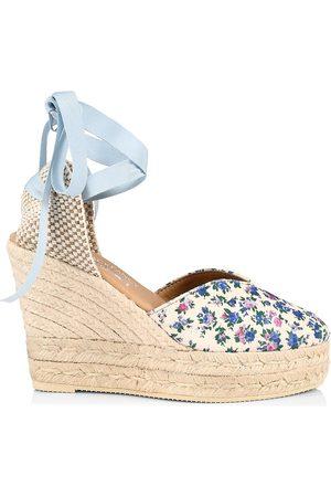 MANEBI Women Platforms - Women's Loveshackfancy x Ankle-Tie Floral Suede Platform Espadrilles - Floral - Size 9