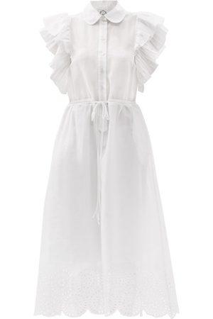 Evi Grintela Drawstring Broderie-anglaise Cotton Shirt Dress - Womens