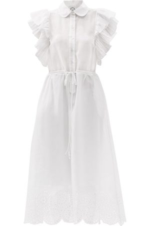 Evi Grintela Women Casual Dresses - Drawstring Broderie-anglaise Cotton Shirt Dress - Womens