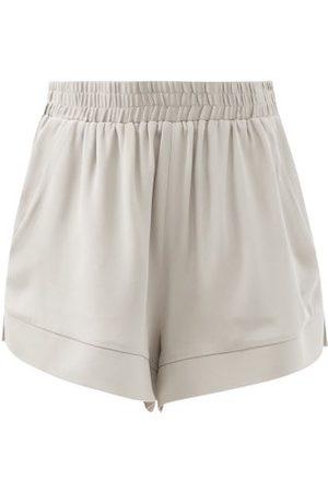 Women Shorts - Raey - Elasticated-waist Silk Shorts - Womens - Grey