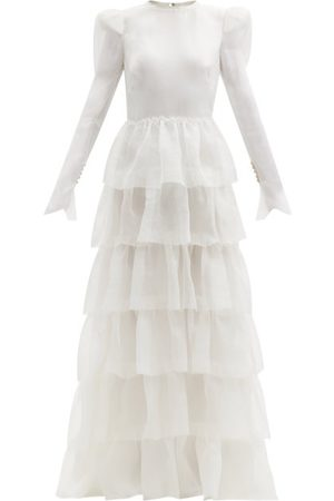 The Vampire's Wife - Titania Long-sleeved Ruffled Silk-organza Gown - Womens - Ivory