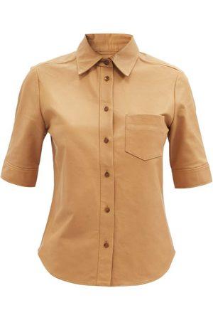 Frame Women Short sleeves - Short-sleeved Leather Shirt - Womens - Camel