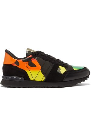 VALENTINO GARAVANI Rockrunner Suede And Leather Trainers - Mens - Multi