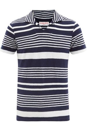 Orlebar Brown Men Polo Shirts - Trent Striped Cotton-terry Polo Shirt - Mens - Navy Multi