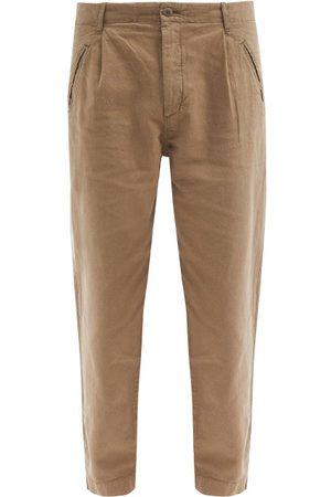Folk Men Pants - Assembly Pleated Linen-blend Tapered-leg Trousers - Mens
