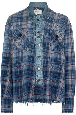 GREG LAUREN Men Denim Jackets - Boxy trucker denim jacket