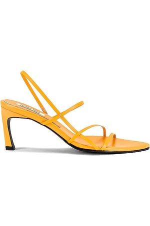 Reike Nen Women Sandals - 3 Strappy Pointed Sandals in Orange.