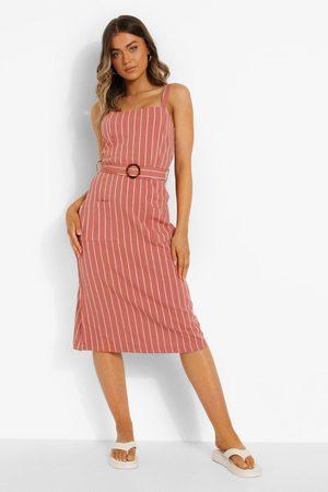 Boohoo Womens Striped Belt Detail Midaxi Dress - - S