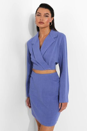Boohoo Womens Linen Mix Cropped Blazer - - 4