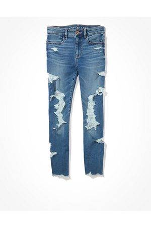 American Eagle Outfitters Next Level Ripped High-Waisted Jegging Crop Women's 2 Long