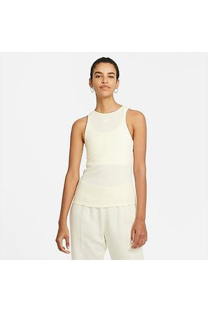 Nike Women's Essential Ribbed Tank Top in Off- /Coconut Milk Size X-Small Cotton/Leather/Polyester
