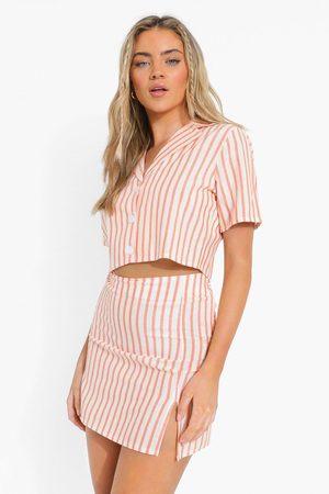 Boohoo Womens Linen Look Pinstripe Crop Shirt & Mini Skirt - - 4