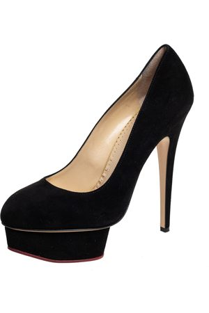 Charlotte Olympia Suede Dolly Platform Pumps Size 40