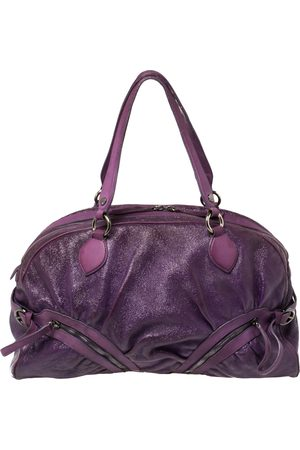 Moschino Crinkled Patent Leather Double Zip Pocket Duffel Bag