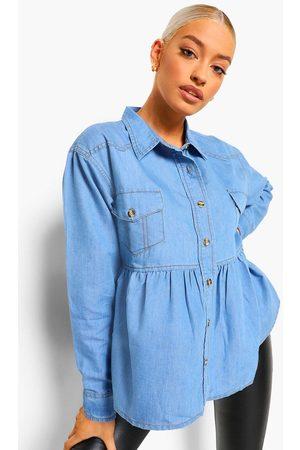 Boohoo Womens Denim Shirt Oversized Smock Top - - 2