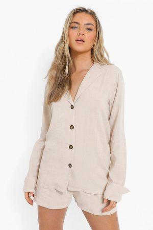 Boohoo Womens Linen Mix Relaxed Fit Blazer - - 4