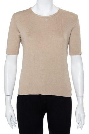 CHANEL Cotton Knit Short Sleeve T-Shirt L