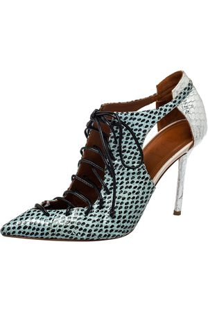 MALONE SOULIERS Python Montana Pointed Toe Lace Up Booties Size 37