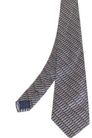 VERSACE Navy Logo Pattern Jacquard Silk Tie