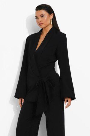 Boohoo Womens Drape Tie Side Tailored Blazer - - 4