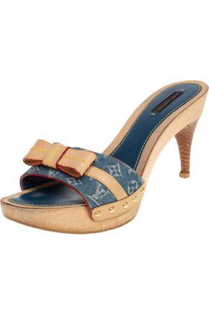 LOUIS VUITTON Monogram Denim and Leather Bow Detail Slides Sandals Size 39.5