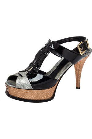 Fendi Patent Leather and Leather Slingback Platform Sandals Size 39.5