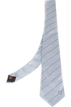 LOUIS VUITTON Pale Micro Damier Striped Silk Tie