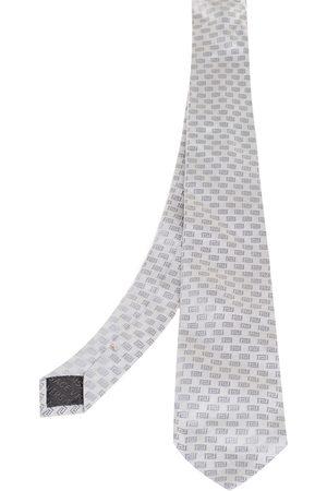 VERSACE Grey Greca Patterned Silk Tie