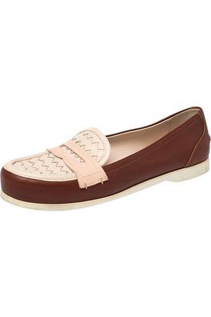 Bottega Veneta Pink/ Leather Intrecciato Detail Penny Loafer Size 39