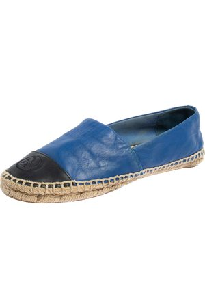 Tory Burch /Black Leather Cap Toe Flat Espadrilles Size 37.5