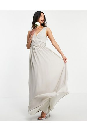 VILA Bridesmaid maxi dress in pale -Grey
