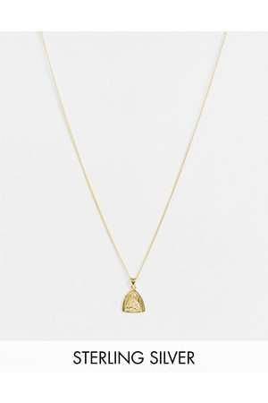 ASOS Sterling silver skinny neckchain with religious pendant in 14k plate