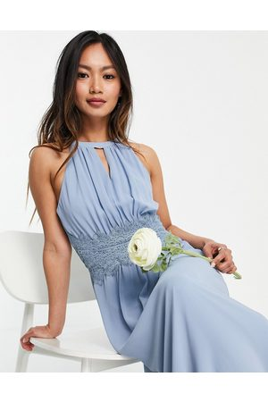 VILA Bridesmaid maxi halterneck dress in blue-Blues