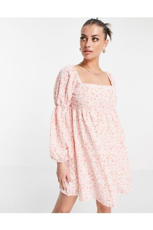 Fashion Union Mini volume smock dress with puff sleeves in floral