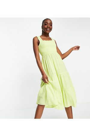 New Look Shirred strap two tiered midi dress in