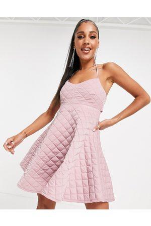 ASOS Quilted halter mini skater dress in rose