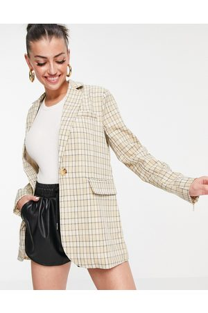 Fashion Union Long line relaxed blazer in vintage check - part of a set-Multi