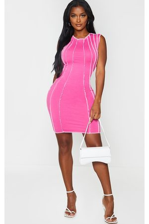 PRETTYLITTLETHING Shape Fuchsia Contrast Seam Detail Sleeveless Bodycon Dress