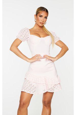 PRETTYLITTLETHING Blush Puff Sleeve Bodycon Dress