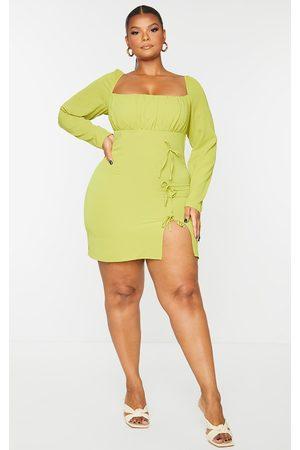 PRETTYLITTLETHING Plus Chartreuse Bow Detail Side Split Bodycon Dress