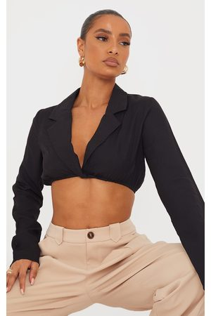 PRETTYLITTLETHING Woven Twist Front Long Sleeve Crop Shirt