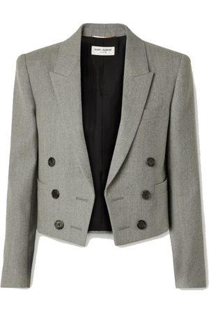 Saint Laurent Spencer cropped wool-twill blazer