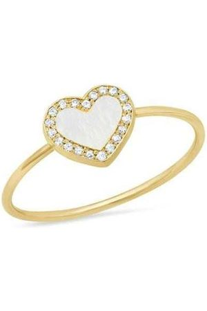 Jennifer Meyer Extra Small Mother of Pearl Inlay Heart Ring