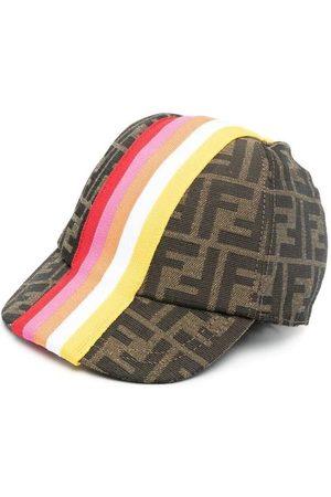 Fendi Kids Ff Striped Logo Baseball Caps