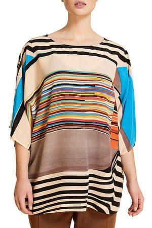 Persona by Marina Rinaldi Women's Bastione Multicolor Stripe Patchwork Silk T-Shirt - - Size 16W