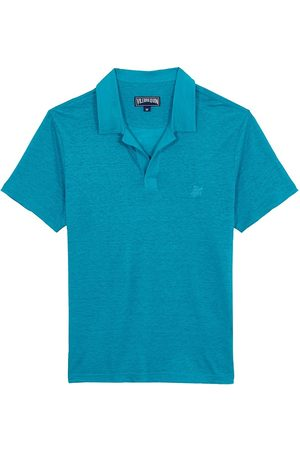 Vilebrequin Men's Pyramid Linen Polo Shirt - Azurin - Size XXL