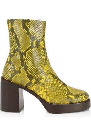 SIMON MILLER Women's Raid Snakeskin-Embossed Leather Platform Ankle Boots - Lemon - Size 5