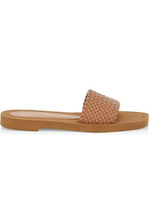 Stuart Weitzman Women's Wova Leather Slide Sandals - Tan - Size 7.5