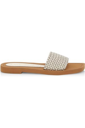 Stuart Weitzman Women's Wova Slide Sandals - Platino - Size 6.5